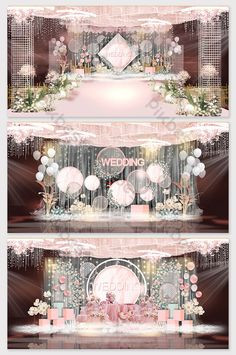 Pink modern romantic wedding effect picture Wedding Backdrop Design, Wedding Stage Design, Wedding Reception Backdrop, Wedding Mandap, Wedding Stage Decorations, Engagement Decorations, Backdrop Decorations, Wedding Designs, Luxury Wedding Decor