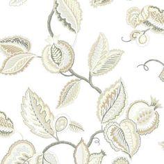 Wallpaper Waverly Fantasy Fleur Jacobean Floral Grey Tan Beige Taupe ...