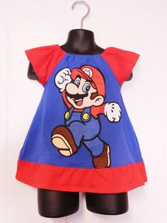 Upcycled toddler Super Mario peasant dress made from men's t-shirt 12mo  --Too small for us, but cute!