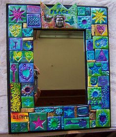 polymer clay mosaic mirror frame.beautiful colours