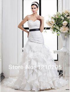 Free Shipping A-line Sweetheart Strapless Court Train Criss Cross Organza Cascading Ruffles Flower  Sashes Wedding Dress 1441358 $249.99