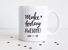 Give your day that extra boost with this mug on your desk or your coffee table. Handlettering by me. To remember to make everyday awesome!  Hope you