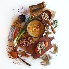 © Aidan Sartin Conte • Chickpeas Vellutata • Shrimps • Hungarian Paprika • Rustic Bread • Olio Evo • Sardinas • Tomato Confit • Jumbo Squid • Garlic • Shallots • Chives • Rosemary • Black Peppercorn