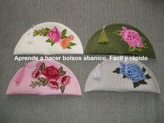 Cómo hacer Bolsos abanico. Fácil y Rápido - YouTube Crochet Stone, Crochet Art, Crochet Clutch, Crochet Handbags, Sewing Tutorials, Sewing Projects, Creative Bag, Stone Wrapping, Handbag Patterns