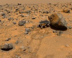 This image is of Sojourner and the very first set of tracks on Mars. A far cry from the complex sky crane landing of the Mini Cooper-sized Curiosity, NASA's pioneering planetary rover was encased in a set of air bags and bounced to a stop on the Martian surface like an errant volley ball at the beach. The diminutive Sojourner was only two feet long, a foot tall, and 23 pounds. Or you know, about the size of an obese cat.