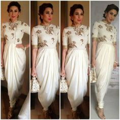 Karisma Kapoor white gold suit by Tisha Saksena Dhoti Saree, Saree Dress, Anarkali, Dhoti Salwar Suits, Lehenga, Sabyasachi, Patiala, Salwar Kameez, Indian Gowns