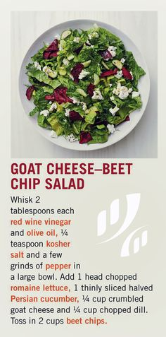 #Recipe: 🐐🧀🥗 Goat Cheese-Beet Chip Salad   #HealthyEating #HealthyRecipe