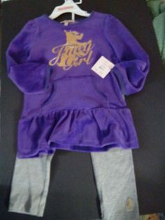 OUTFIT/SET/GIRL'S/JUICY COUTURE/SIZE 4/NWT/PURPLE & GRAY WITH GOLD TRANSFER/SA;E #JUICYCOUTURE #DressyHoliday