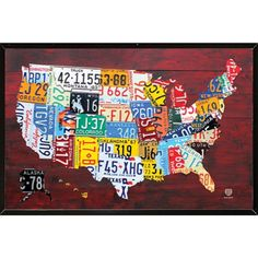 USA Mounted License Plate Map of the US 24 x 36-inch Wood Plaque ($87) ❤ liked on Polyvore featuring home, home decor, wall art, black, black wall art, map plates, mounting plate, keyhole mounting plate and keyhole plate