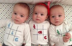 Tic Tac Toe Triplet Fun Bodysuit Set , Great Shower gift for TRIPLETS or siblings by twinzzshop on Etsy https://www.etsy.com/listing/62573260/tic-tac-toe-triplet-fun-bodysuit-set