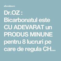 Dr.OZ : Bicarbonatul este CU ADEVARAT un PRODUS MINUNE pentru 8 lucruri pe care de regula CHELTUIM MULTI BANI! - Aflu Online Acv, Dr Oz, How To Get Rid, Natural Remedies, Health, Pandora, Crafts, Sodas, Manualidades
