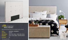 Look the combo of the cross blanket (very scandi) with the grey wall, bedhead & blonde wood bedside tables (similar toned wood to your current pieces)