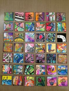 Diane's Miixed Media Art - inchies #121-162 It was time for another group photo, now onward to 200! WOW, go girl!!!