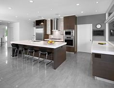 Kitchen Ideas Brown Cabinets 15 cool kitchen designs with gray floors | transitional kitchen