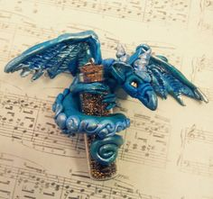 Dragon with Bottle Pendant by MakoslaCreations on Etsy, $30.00