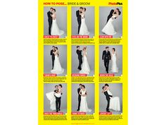 Shooting wedding portraits of the bride and groom is one of the most challenging tasks of any wedding photographer, whether you're a seasoned hand or its your first time. In this free photography cheat sheet we illustrate 9 classic wedding poses and explain how to capture them. Wedding Picture List, Wedding Picture Poses, Wedding Poses, Wedding Shoot, Wedding Dresses, Wedding Pictures, Wedding Portraits, Cute Wedding Ideas, Free Wedding