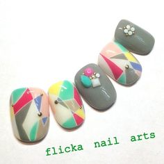 モノトーンなテキスタイル柄ネイル の画像|茨城県水戸市プライベートネイルサロン flicka Nail Arts