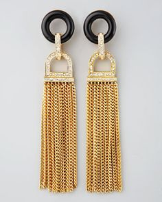 Rachel Zoe Rhinestone Tassel Earrings, Black Quartz - Neiman Marcus $250