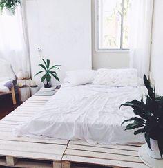 wooden plank platform bed