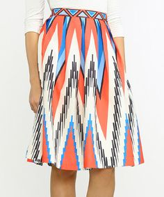 Love this Champagne & Strawberry Red & Blue Geometric Skirt by Champagne & Strawberry on #zulily! #zulilyfinds