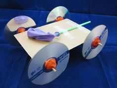 balloon car with CD wheels