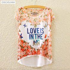 2017 Brand New Polyester T-Shirt Women Short Sleeve t-shirts o-neck Causal Love Butterfly T Shirt Summer tops for women