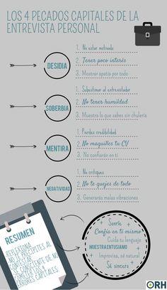 Hola: Una infografía con los 4 pecados capitales en una Entrevista de Trabajo. Vía Un saludo
