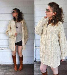Chunky Cable Hand Knitted Wool Sweater Cardigan by LaDeaDeiSogni, $88.00