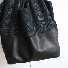 Mon second Cosi en lainage à chevrons et cuir noir