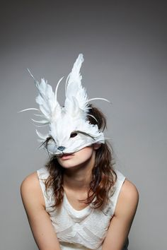 Curiys Fair / White Rabbit Mask, White Rabbit Headdress, Festival Mask, Feather Animal Mask, Alice Mask
