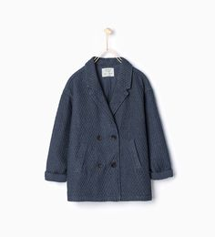 Image 1 of Quilted denim 3/1 length coat from Zara