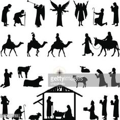 Nativity scene silhouettes. Files included – jpg, ai , svg, and eps
