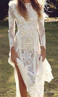 Ivory Lace Wedding Dress, Open Back Wedding Dress, Wedding Dress Sleeves, Lace Maxi, Chiffon Maxi, Dress Lace, Long Sleave Wedding Dress, Boho Lace Wedding Dress, White Long Sleeve Dress