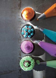 Pretty cupcake frostings by Libbie Summers.