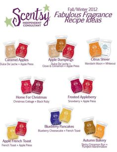Scentsy Recipes Fall/Winter 2012 ~ I must try them all!