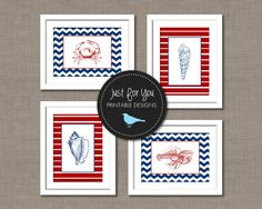 A nautical addition to your seaside coastal decor. These red, blue and white seashell, lobster and crab printables are an easy DIY. Simply print, frame, and hang! After purchasing, you will receive four 5x7 high resolution DIGITAL FILES via Etsy instant download. There will be no watermark and no border/mat. You can print these just like you would photos and frame them, print it on canvas or mdf, or print it on card stock. These not only make great wall art but nice post cards or note cards…