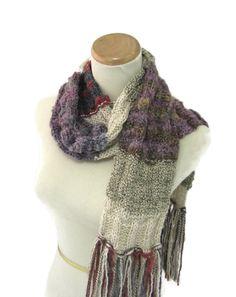 Shabby Chic Scarf, Hand Knit Scarf, Knit Scarf, Tan Brown, Fiber Art, Winter Scarf, Womens Scarf, Fashion, Burgundy, Purple - pinned by pin4etsy.com