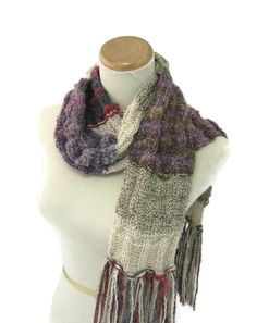 Shabby Chic Scarf, Hand Knit Scarf, Knit Scarf, Tan Brown, Fiber Art, Winter Scarf, Womens Scarf, Fashion, Burgundy, Purple - pinned by pin4etsy.com