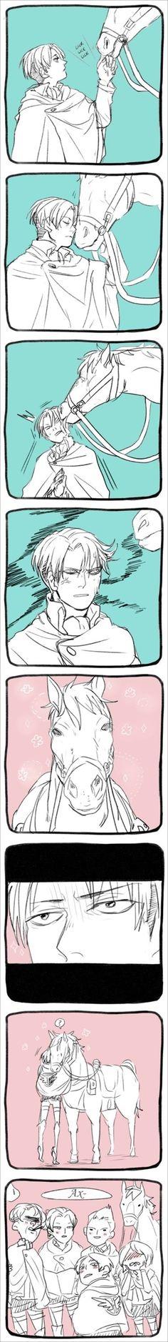Shingeki no Kyojin - Levi - Love LOL I LIKE HOW LEVI POINTS HIS TOES TO REACH THE HORSE :3