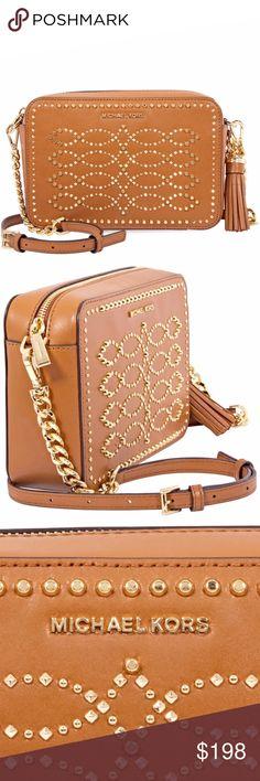 15311b10f1f6 MK Medium Studded Leather Crossbody Acorn Ginny Authentic Michael Kors  crossbody bag from the Ginny collection
