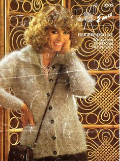 womens mohair jacket knitting pattern PDF ladies collar cardigan vintage 70s 20-42 inch 10 ply mohair Instant download by Hobohooks on Etsy