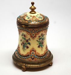 Antique Napoleon III French Hand-Painted Enamel Encrier/Inkwell from parischateau on Ruby Lane