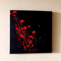 Tableau peinture contemporain noir-rouge_moderne bouquet 40x40