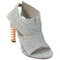 Pre-owned Omelle - Grey Exotic Perch Fish Andre Booties Gray, Orange,... ($322) ❤ liked on Polyvore featuring shoes, leather slingback shoes, summer shoes, open toe shoes, leather shoes and grey leather shoes