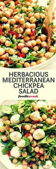 Outrageous Herbacious Mediterranean Chickpea Salad | This easy Mediterranean garbanzo bean salad is infused with flavor thanks to a heaping helping of fresh herbs with a garlicky lemon dressing that ups the crunch from red bell pepper, celery and red onion for a simple side dish or topping for greens. via: @foodiecrush