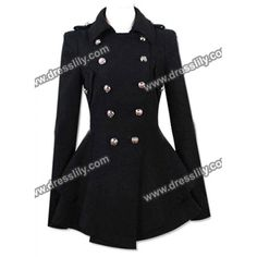 Fashionable Turn-Down Collar Double-Breasted Epaulet Embellished Pleated Top Long Sleeves Slimming Coat For Women, BLACK, S in Jackets & Coats | DressLily.com