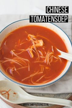 Chinese tomatensoep - OhMyFoodness Dutch Recipes, Easy Soup Recipes, Pork Recipes, Asian Recipes, Vegetarian Recipes, Cooking Recipes, Healthy Recipes, I Love Food, Good Food
