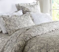 Mari Duvet Cover & Sham - Gray #potterybarn    Hmmm could move chocolate upholstered king w comforters, pillows etc to guest room & put this on our grey velvet upholstered bed