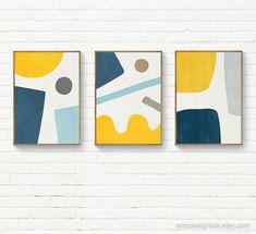 Large Abstract Wall Art, Abstract Geometric Art, Geometric Designs, Geometric Shapes, Yellow Artwork, Yellow Wall Art, Art Jaune, Minimal Art, Painted Canvas