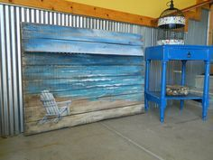 LARGE Reclaimed Wood Pallet Art, BEACH, Hand painted Beach, Seascape horizon, ocean, upcycled, Distressed, Adirondack chair, Shabby Chic